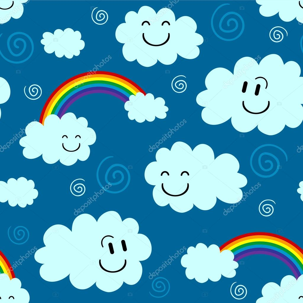 Cute seamless pattern with clouds and rainbows