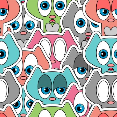 Seamless pattern with cute kittens