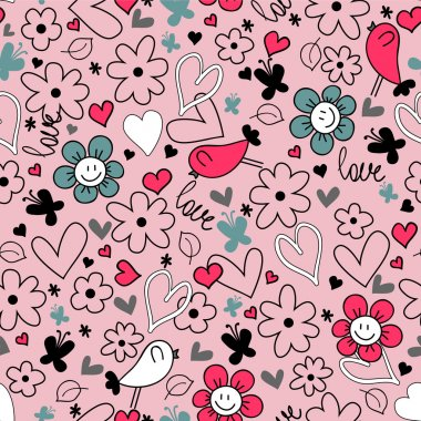 Romantic seamless background hearts flowers and birds