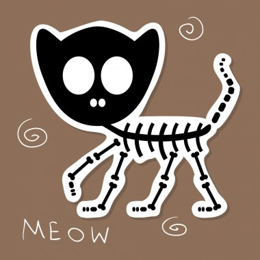 Illustration of a funny cat skeleton