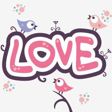 Romantic illustration with cute little birds