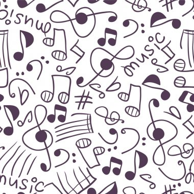 Seamless pattern with various music signs