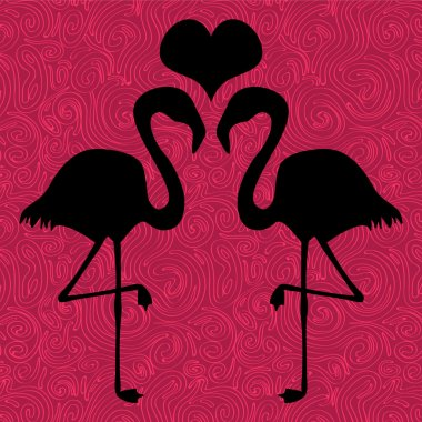 Romantic illustration two flamingos in love