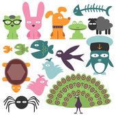 Fotografia set di simpatici animali divertenti