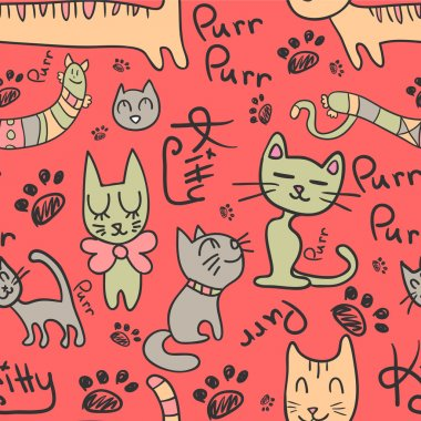 Seamless pattern with cute hand drawn cats