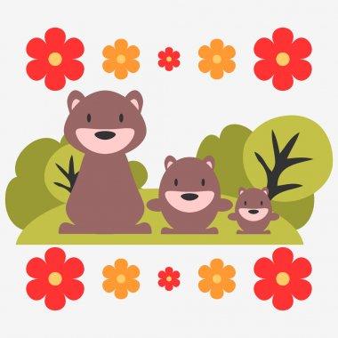 Illustration of three cute bears