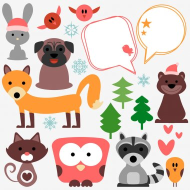 Set of cute animals and birds