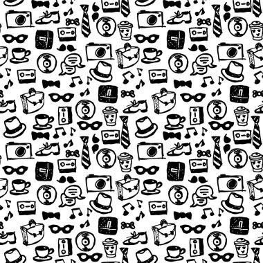 Hipster elements seamless pattern design