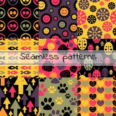 Set of nine colorful seamless patterns