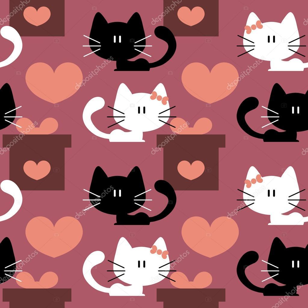 Patrones Sin Fisuras Con Lindos Gatitos Enamorados Vector De Stock