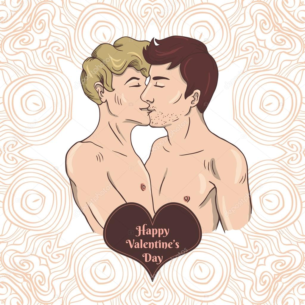 Happy Valentines day card with two gay men kissing Vector – Gay Valentines Card