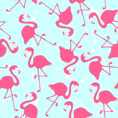 Seamless pattern with pink flamingos