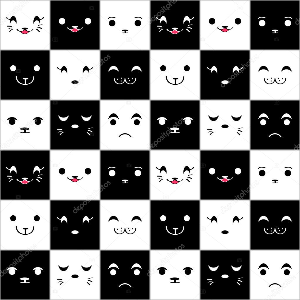 Seamless pattern with cute cartoon animal faces