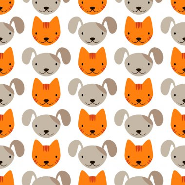 Pattern with cats and dogs