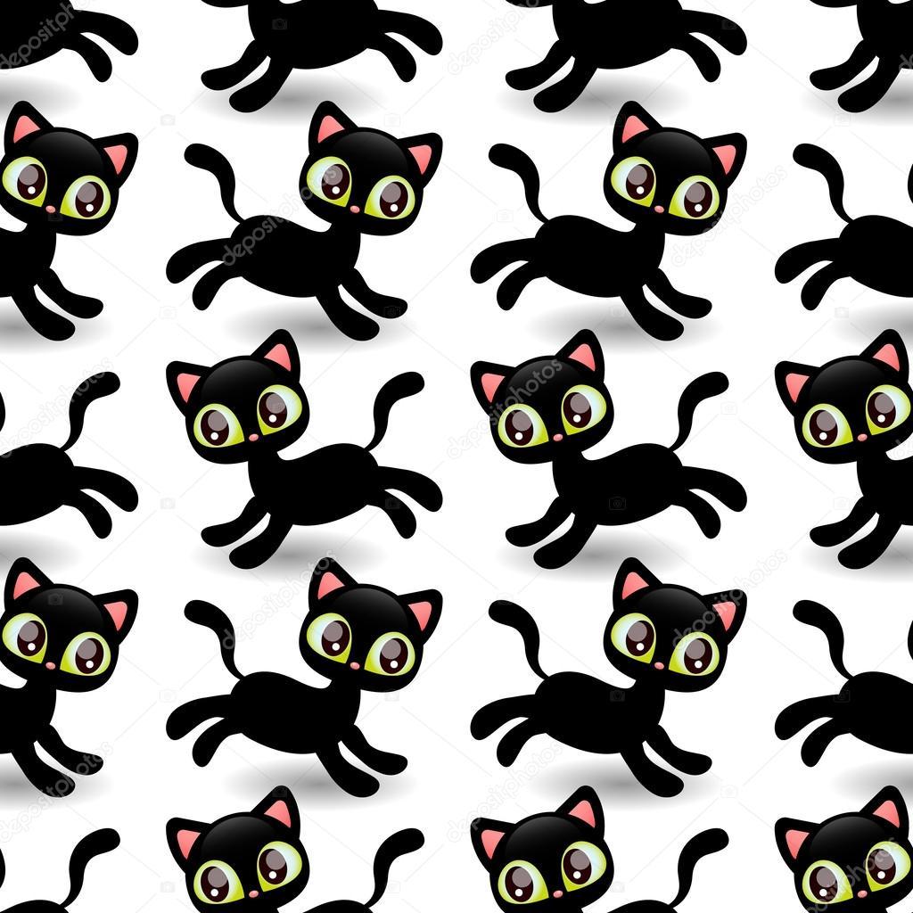 patrón con lindos gatitos negros — Archivo Imágenes Vectoriales ...