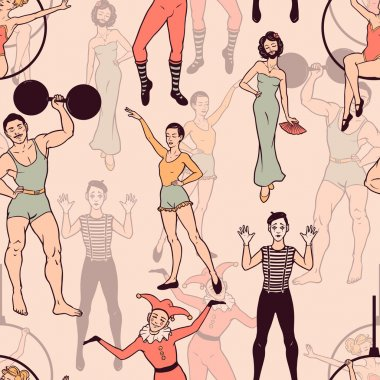 Seamless pattern with circus performers