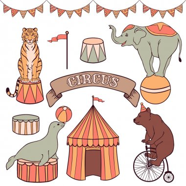 Cute circus animals set