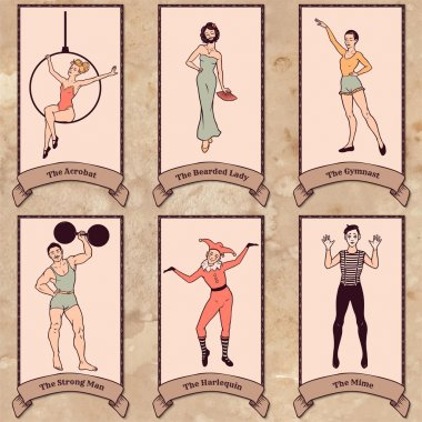 Vintage circus characters set