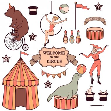 Set of various circus elements