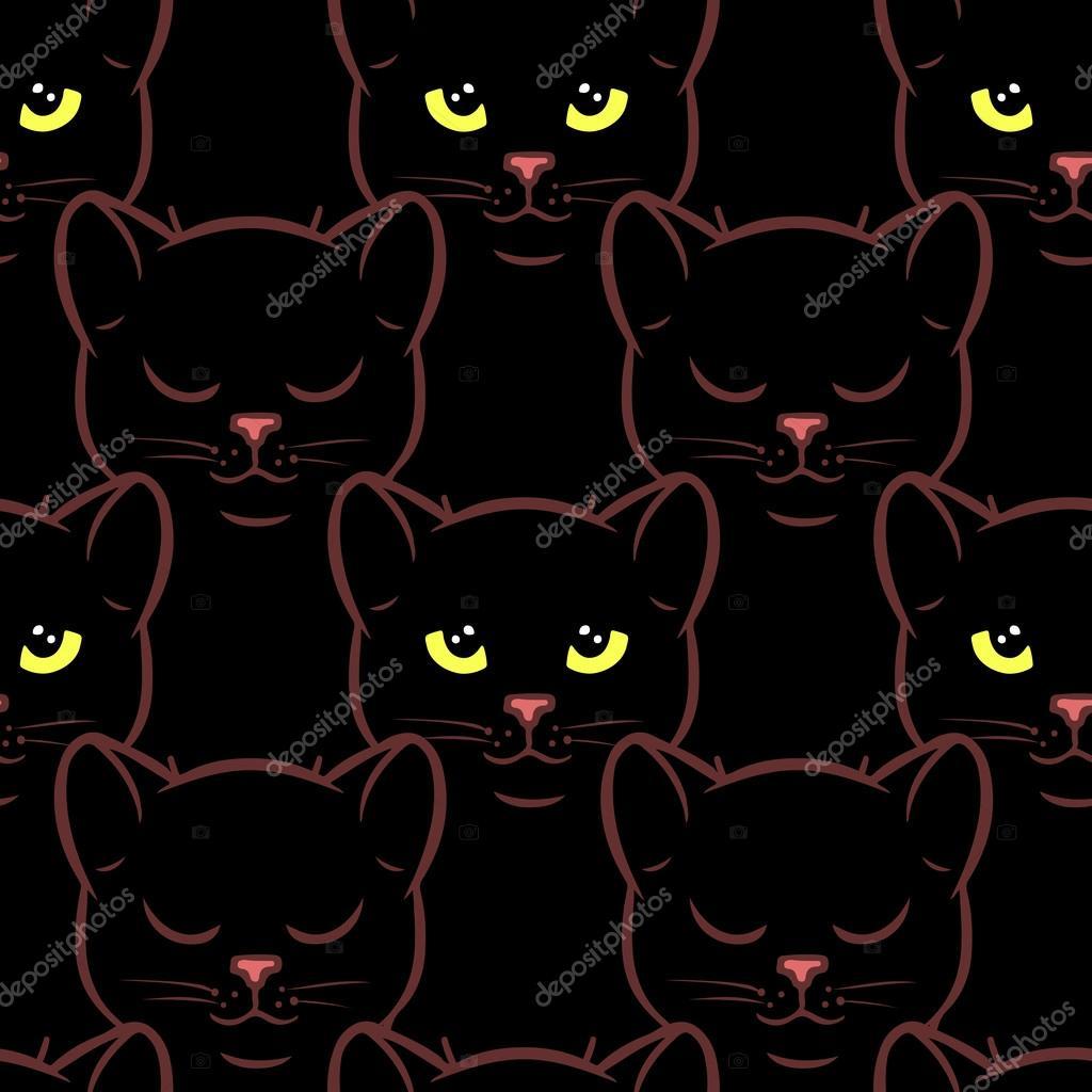 Modèle sans couture avec des mignons chats noirs \u2014 Image vectorielle