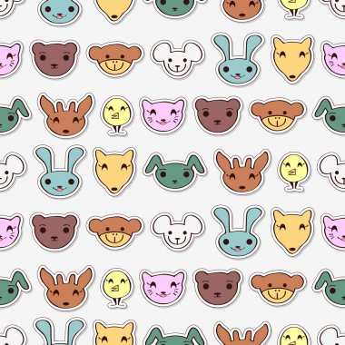 Cute animal faces pattern