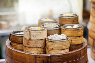 Dim sum steamers at a Chinese restaurant, Hong Kong