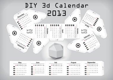 3d DIY Calendar 2013 3,1×2,9 inch compiled size