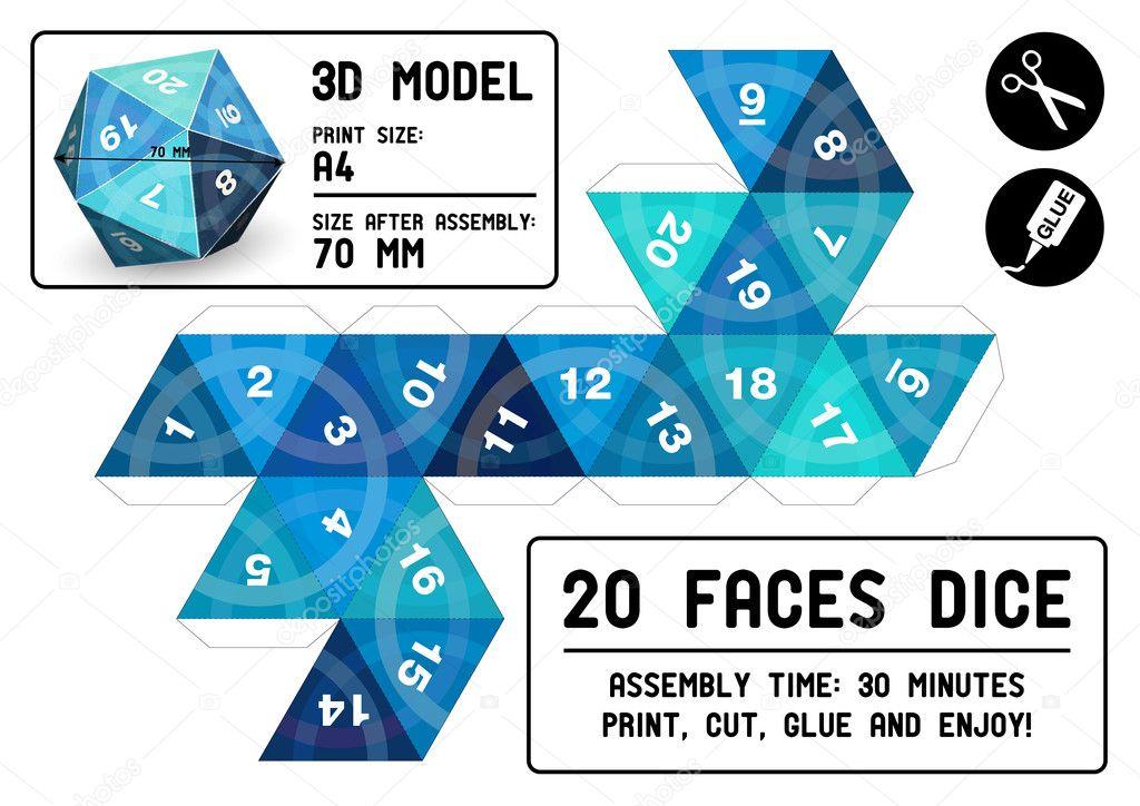 dados de 20 faces papercraft vetor de stock robolab 21442117