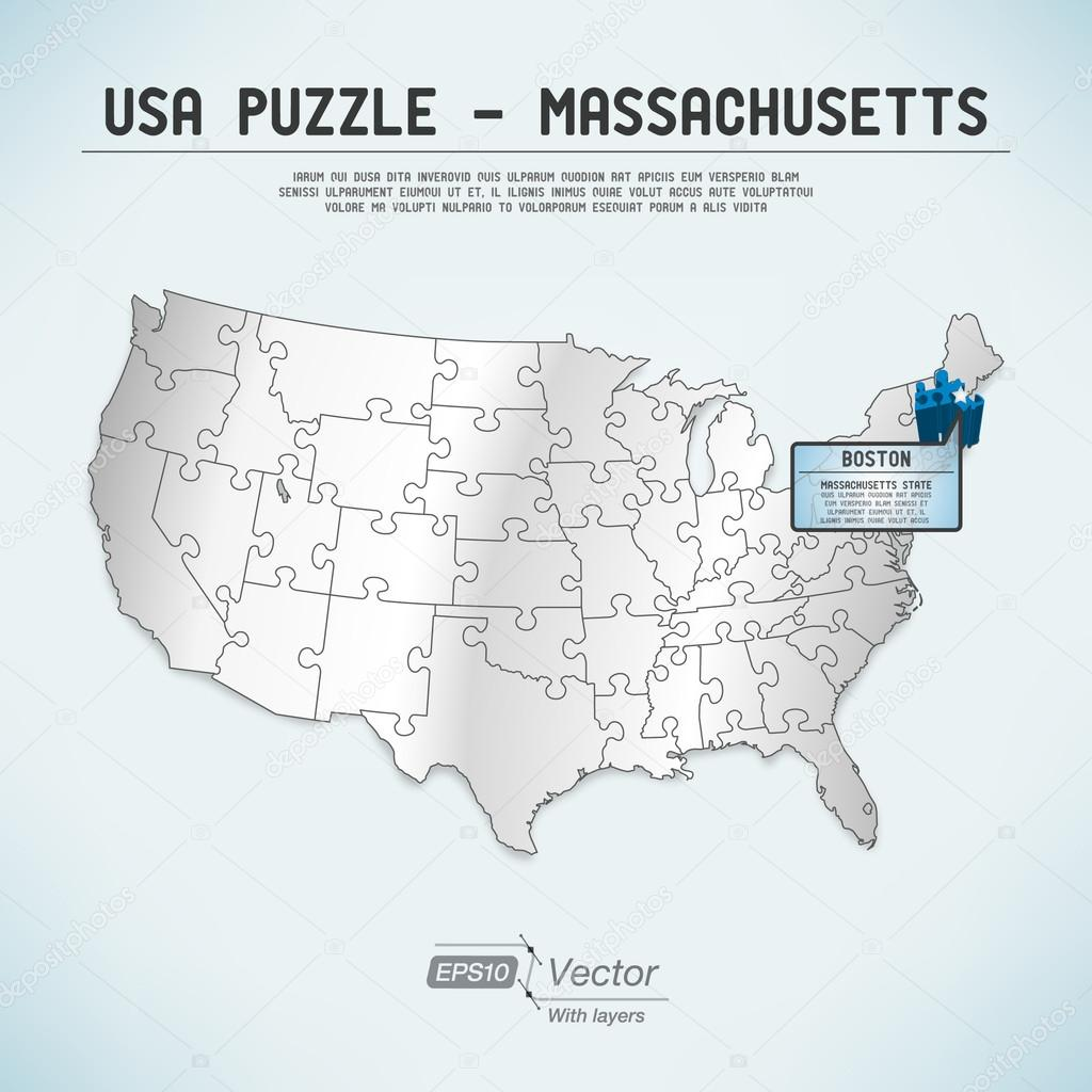 USA map puzzle One stateone puzzle piece Massachusetts
