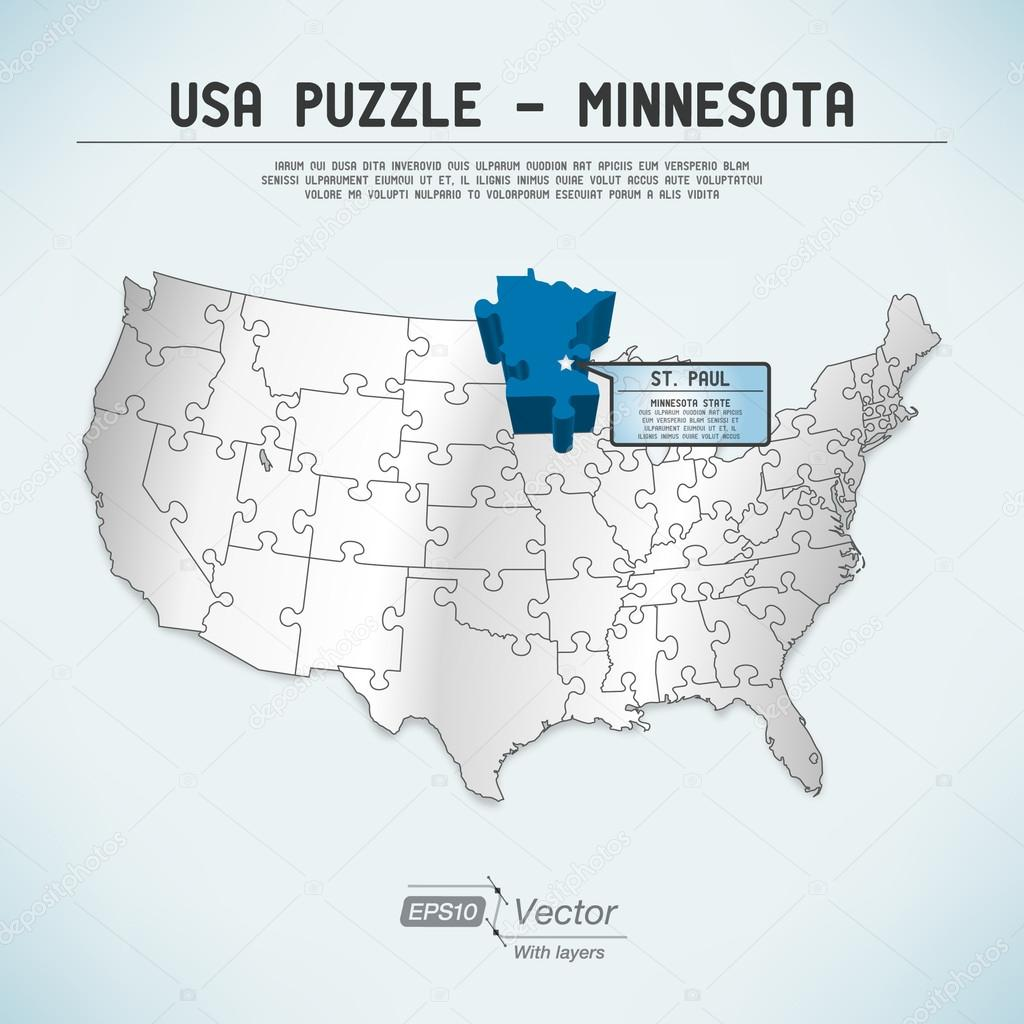 USA map puzzle One stateone puzzle piece Minnesota St Paul