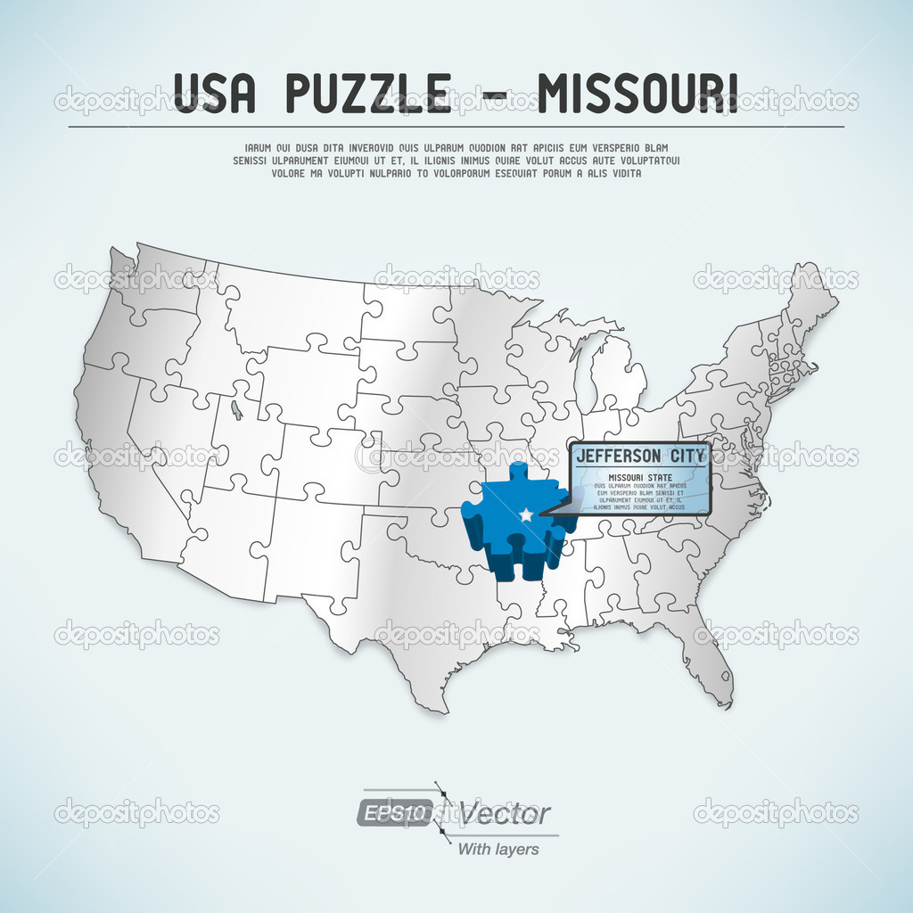 Usa Map Puzzle One State One Puzzle Piece Missouri Jefferson