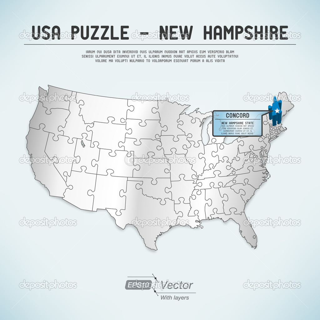 USA Map Puzzle One Stateone Puzzle Piece New Hampshire - Concord usa map