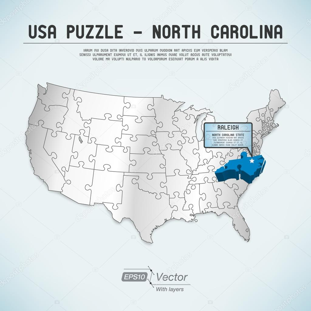 USA Map Puzzle One Stateone Puzzle Piece North Carolina - North carolina on usa map