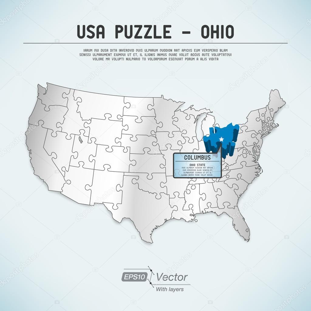 USA Karte Puzzle - ein Staat-ein Puzzleteil - Ohio, columbus ...