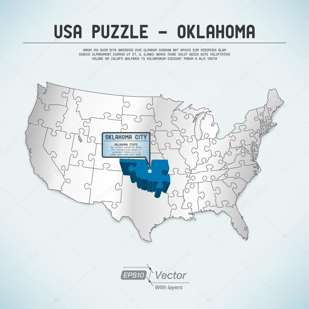 Oklahoma Map In Usa.Usa Map Puzzle One State One Puzzle Piece Oklahoma Oklahoma