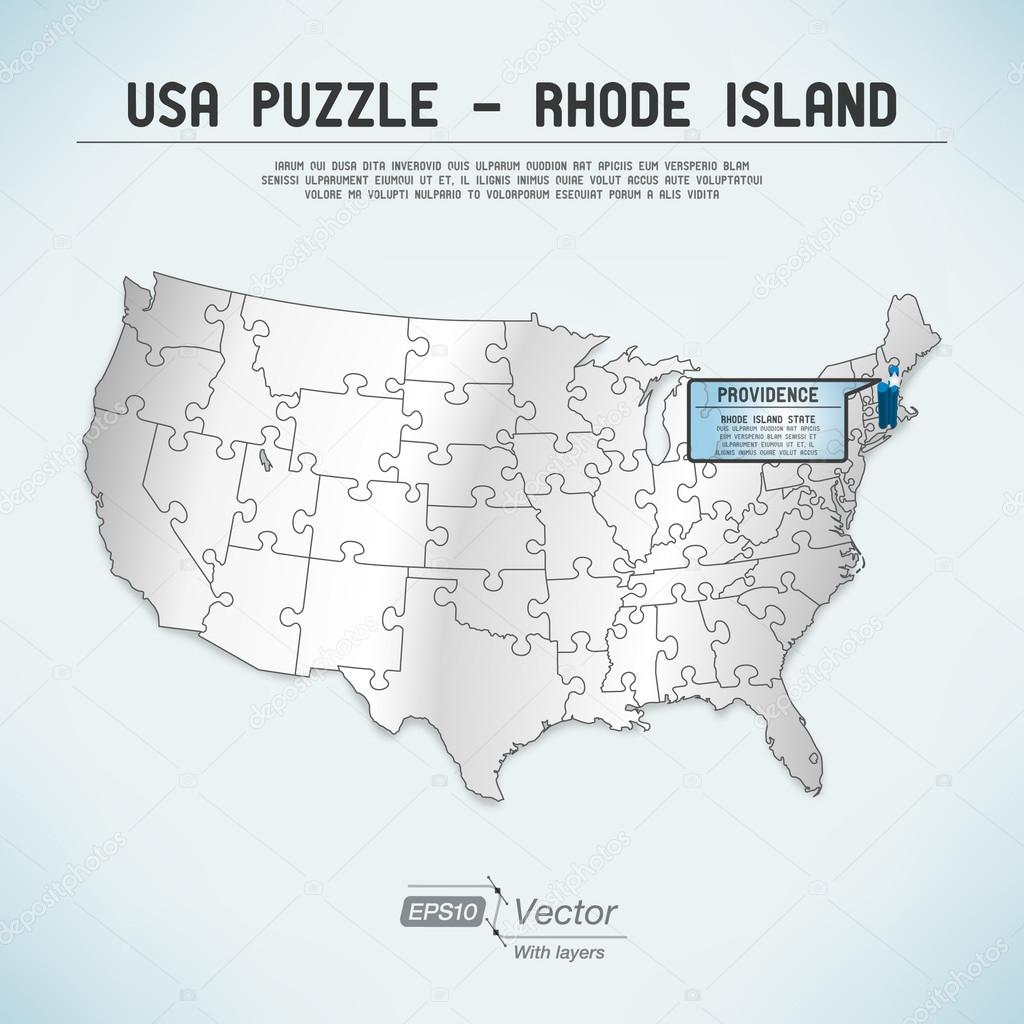 USA map puzzle - One state-one puzzle piece - Rhode Island ...
