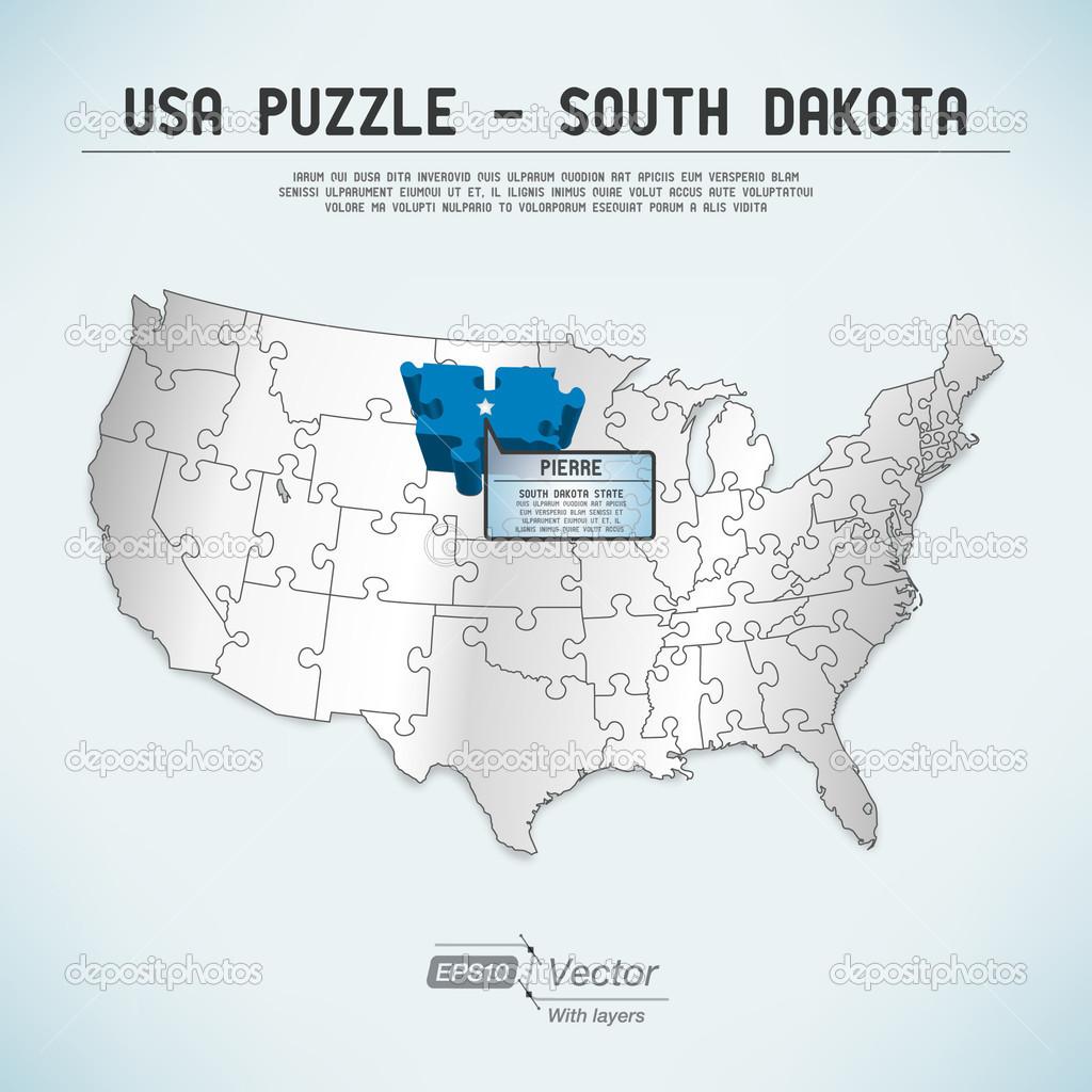USA Map Puzzle One Stateone Puzzle Piece South Dakota Pierre - Usa map south dakota