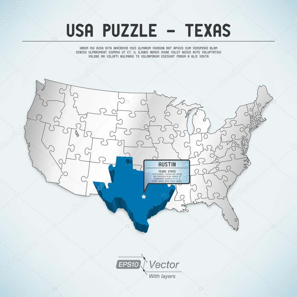 USA map puzzle One stateone puzzle piece Texas Austin Stock