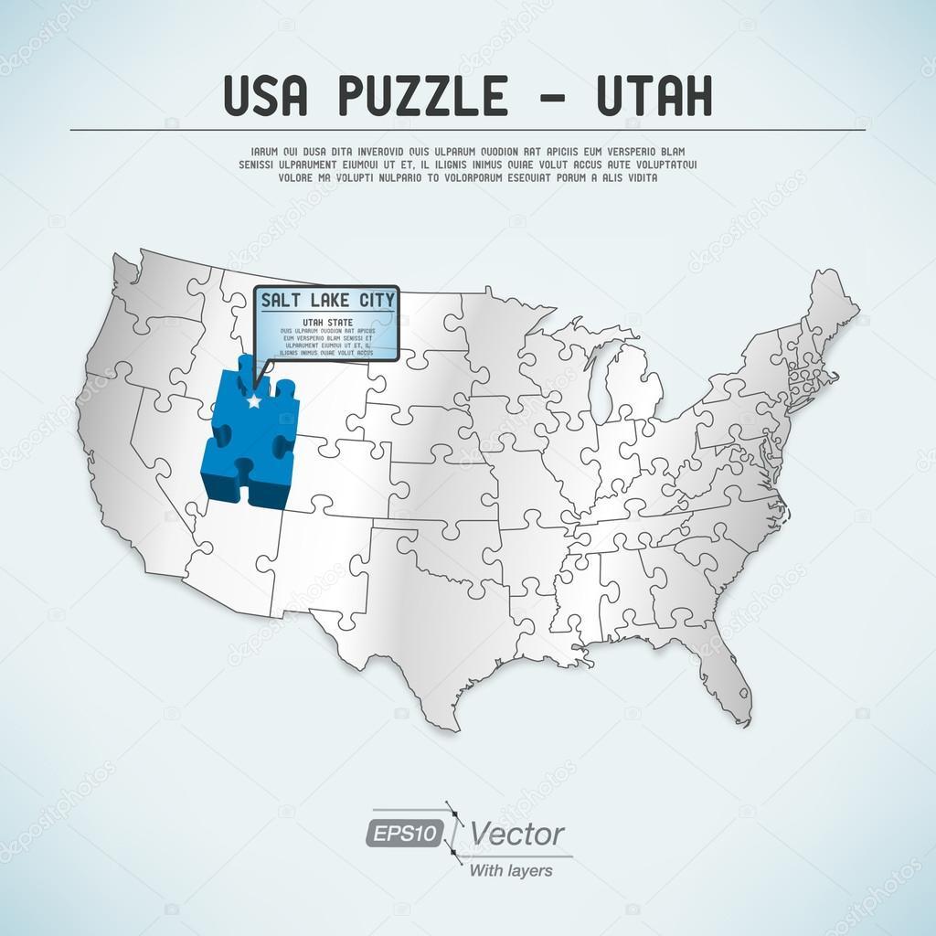 USA map puzzle - One state-one puzzle piece - Utah, Salt ... Salt Lake City Utah Map Usa on ogden utah map usa, vernal utah map usa, kansas city kansas map usa,