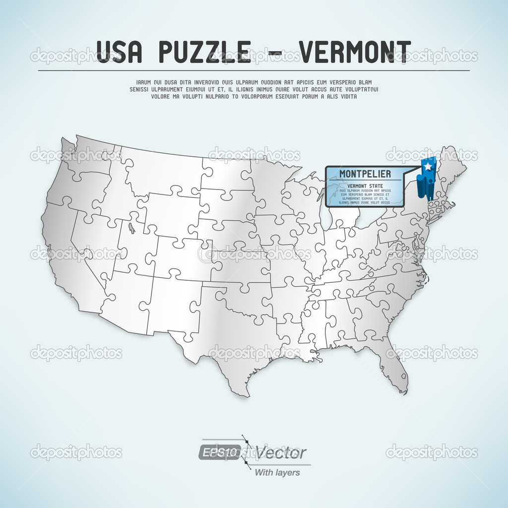 USA Map Puzzle One Stateone Puzzle Piece Vermont Montpelier - Vermont in usa map