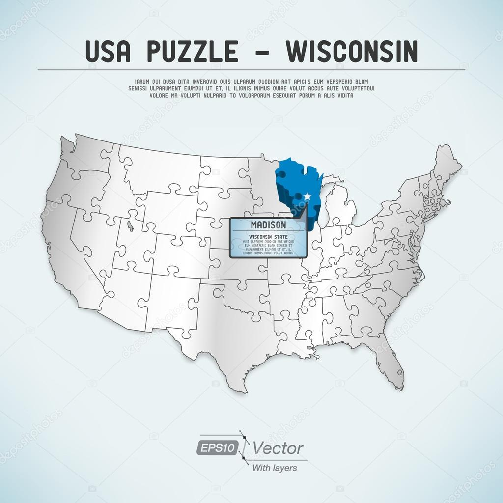 USA map puzzle - One state-one puzzle piece - Wisconsin ...