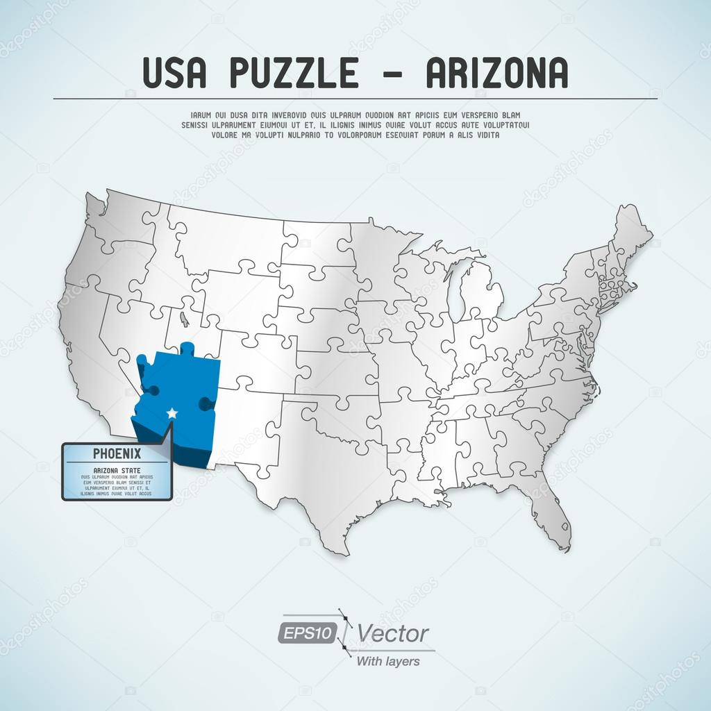 USA Map Puzzle One Stateone Puzzle Piece Arizona Phoenix - Usa map phoenix arizona