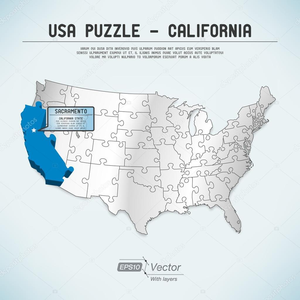 USA map puzzle - One state-one puzzle piece - California, Sacramento Sacramento State Map on
