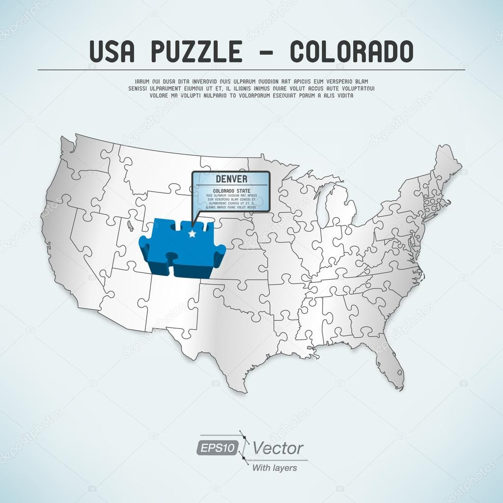 Usa Map Puzzle One State One Puzzle Piece Colorado Denver