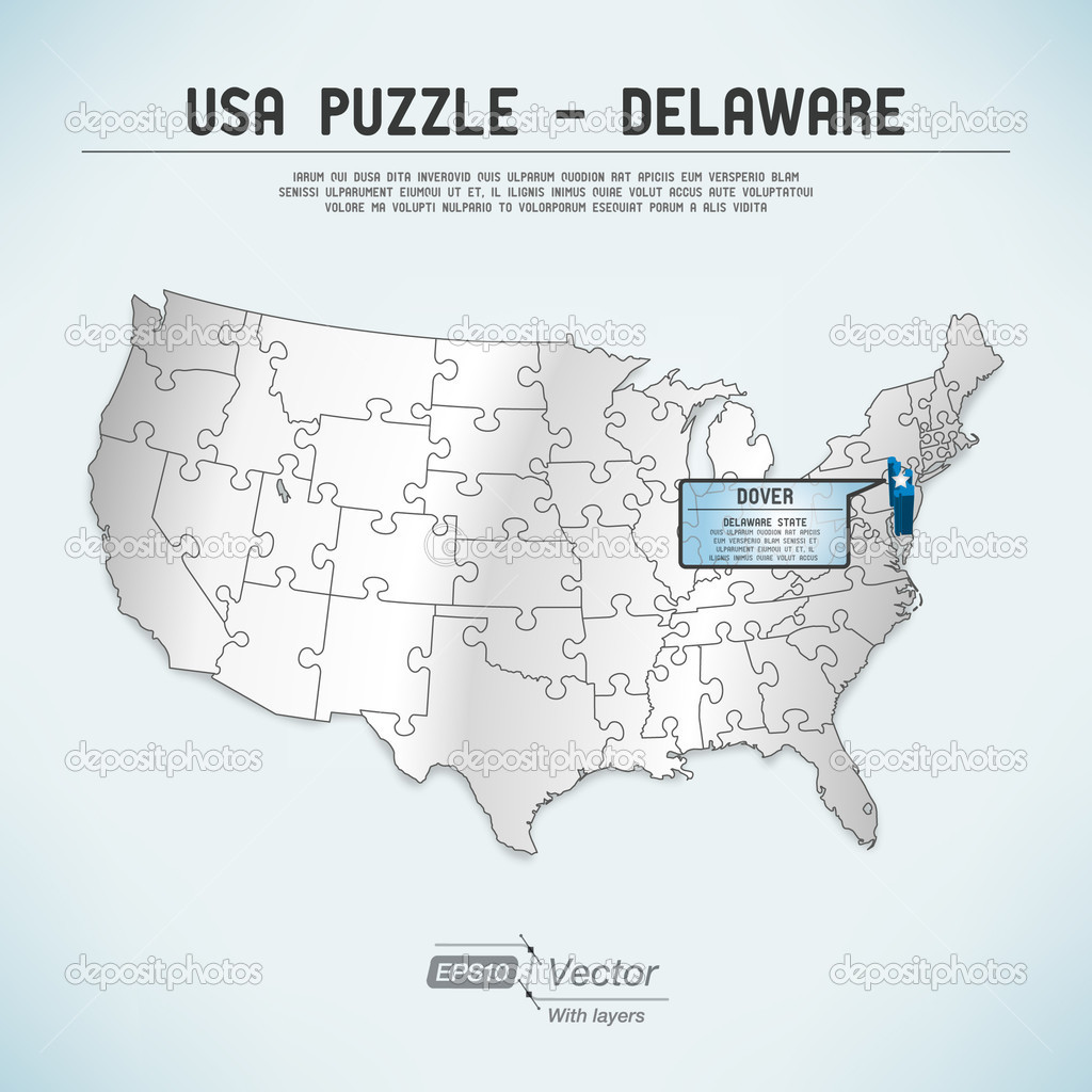 Dover De Zip Code Map.Usa Map Puzzle One State One Puzzle Piece Delaware Dover