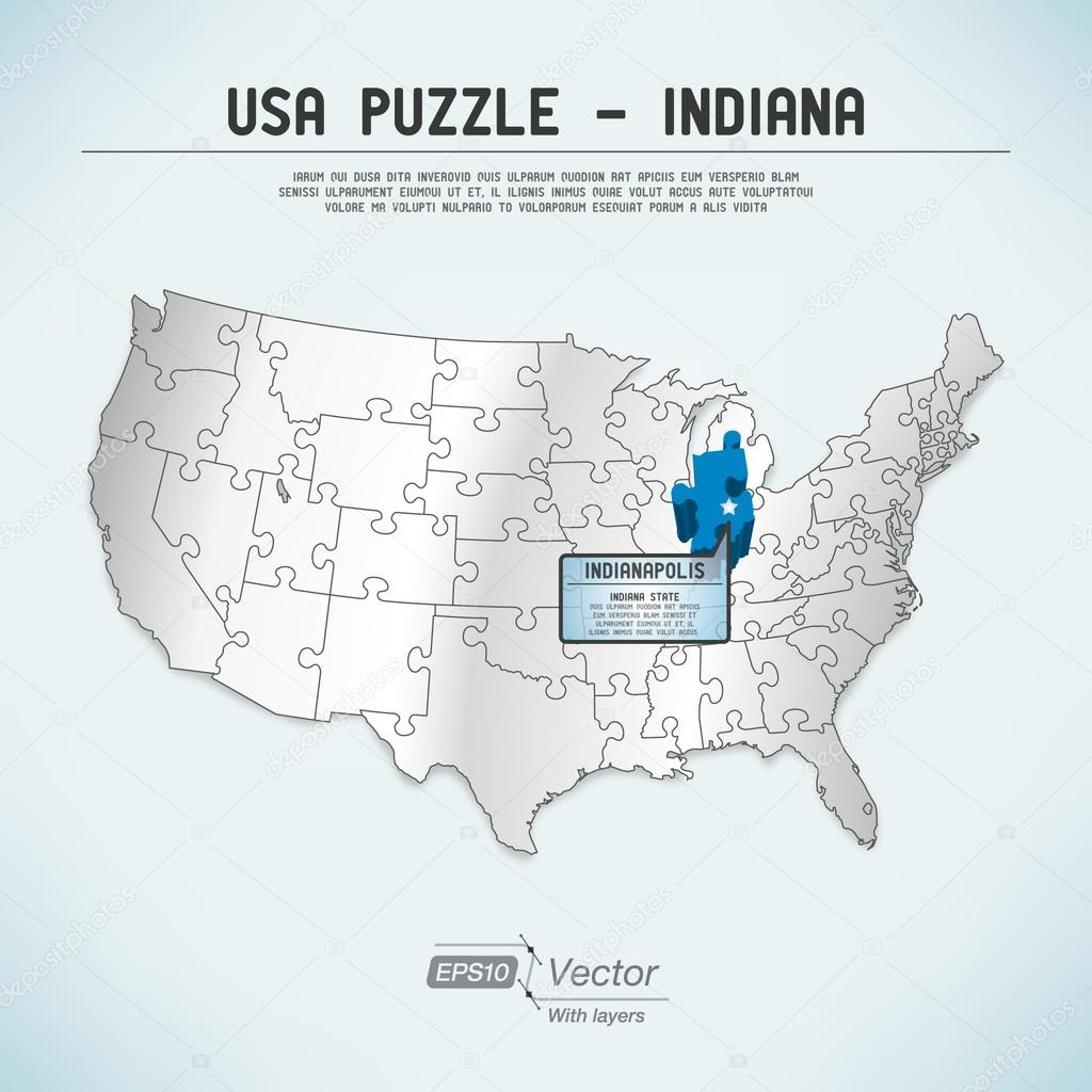 USA Map Puzzle One Stateone Puzzle Piece Indiana - Indiana state usa map