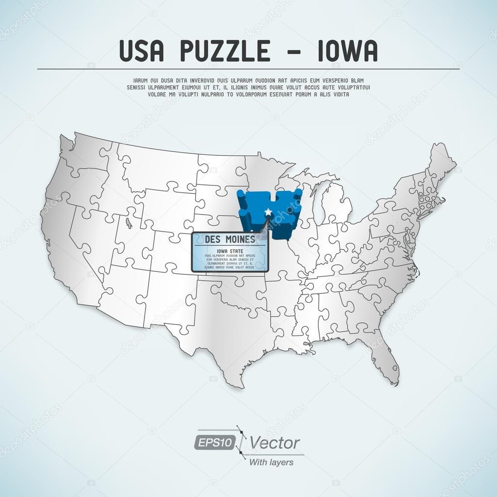USA map puzzle One stateone puzzle piece Iowa Des Moines
