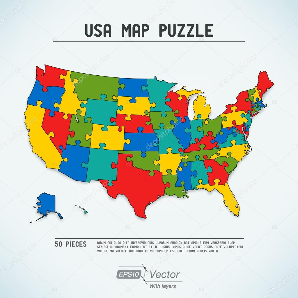 Usa map puzzle stock vector robolab 25277087 clorful puzzle elements of united states vector by robolab gumiabroncs Choice Image
