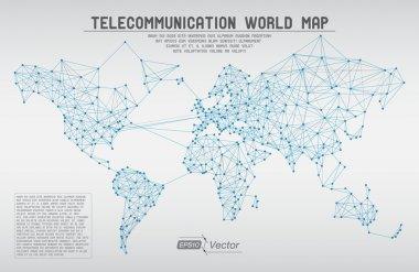 Abstract telecommunication world map with circles, lines and gradients