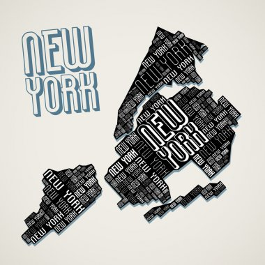 Abstract New York City Map from Letters